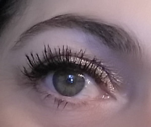 Left side eyelashes after 1 Coat CHERRY BLOOMS!