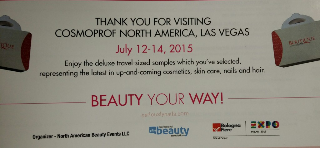 Thank you card from my purchase at the Boutique, Cosmoprof NA