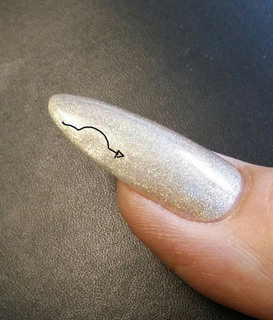 line of light shows bump in nail!